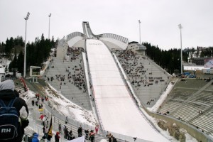 The Holmenkollen ski jump in Oslo, Norway is a K-120 ski jump (the size of a larger hill in the Olympics). The record on the hill for the longest jump is 141 meters.