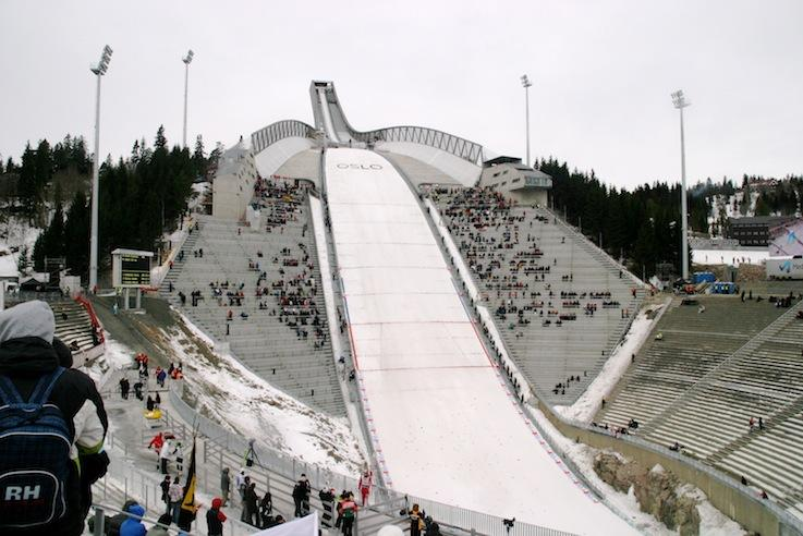 The+Holmenkollen+ski+jump+in+Oslo%2C+Norway+is+a+K-120+ski+jump+%28the+size+of+a+larger+hill+in+the+Olympics%29.+The+record+on+the+hill+for+the+longest+jump+is+141+meters.+%0D%0A