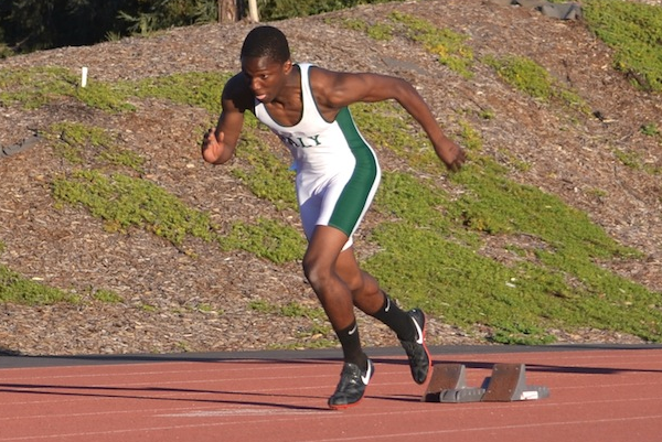Dami Bolarinwa ('16) takes off during the 200-meter race.