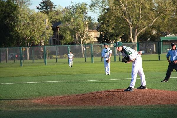 Walker Ritchie ('15) prepares to pitch for the Vikings. The Vikings fell to the Chargers 7-3.