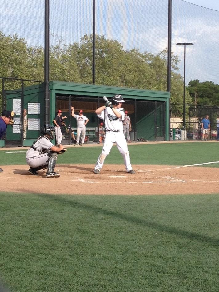 Owen Plambeck ('16) waits for a pitch in the batter's box. The Vikings would go on to win 9-1.