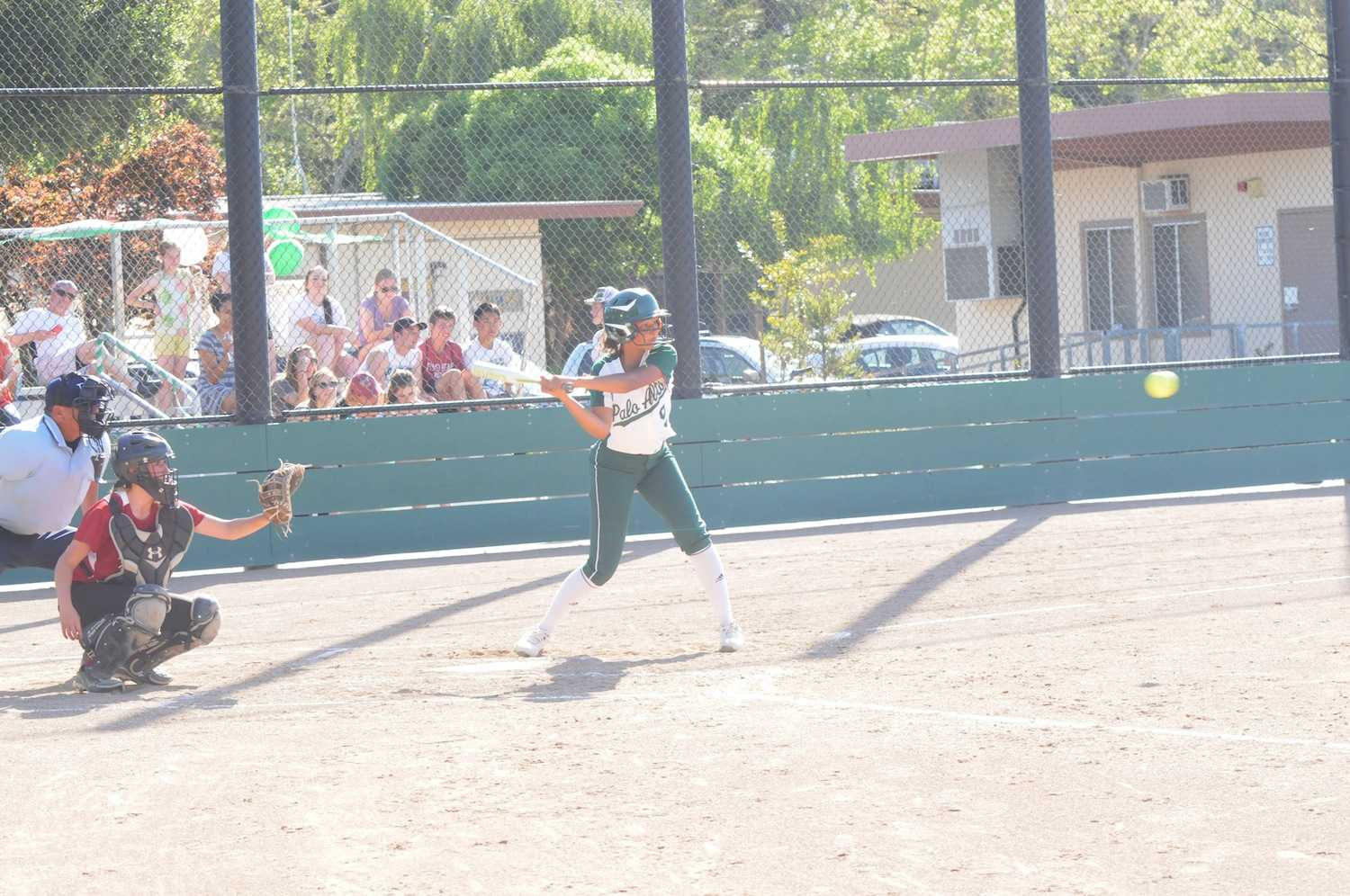 Kabria Dame ('15) swings at a pitch. The Vikings would go on to win 8-3 against Fremont