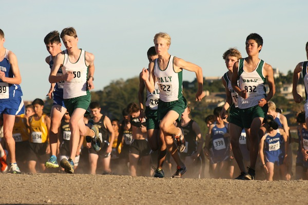 Boys' runners Kent Slaney ('17), Lucas Novak ('15) and Kai Oda ('17) start off their SCVAL championship race at Crystal Springs. The boys went on to qualify for CCS finals last year. Photo courtesy of Malcolm Slaney.