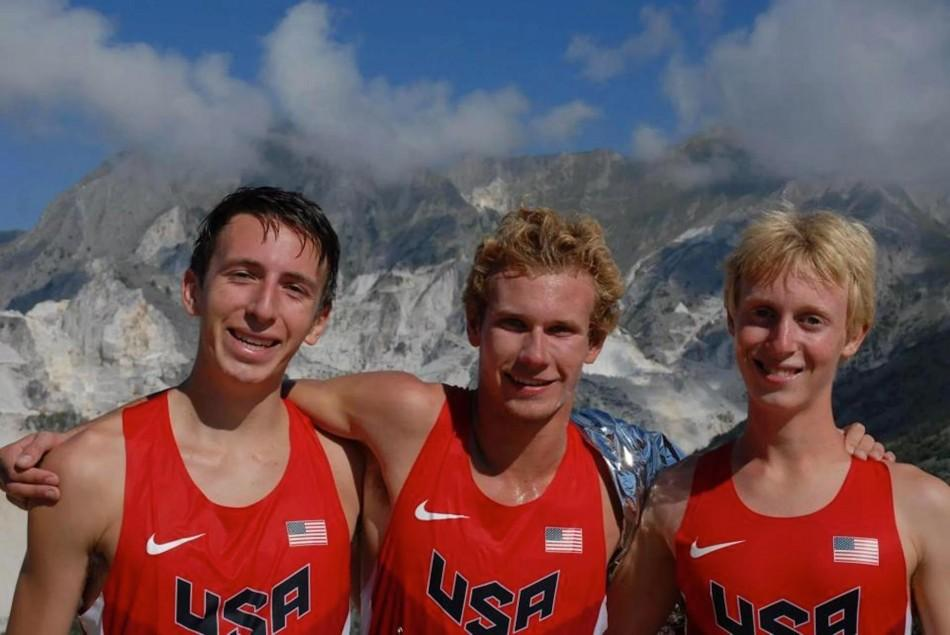 Lucas Matison (`15) poses with two of his USA Junior Men's teammates.