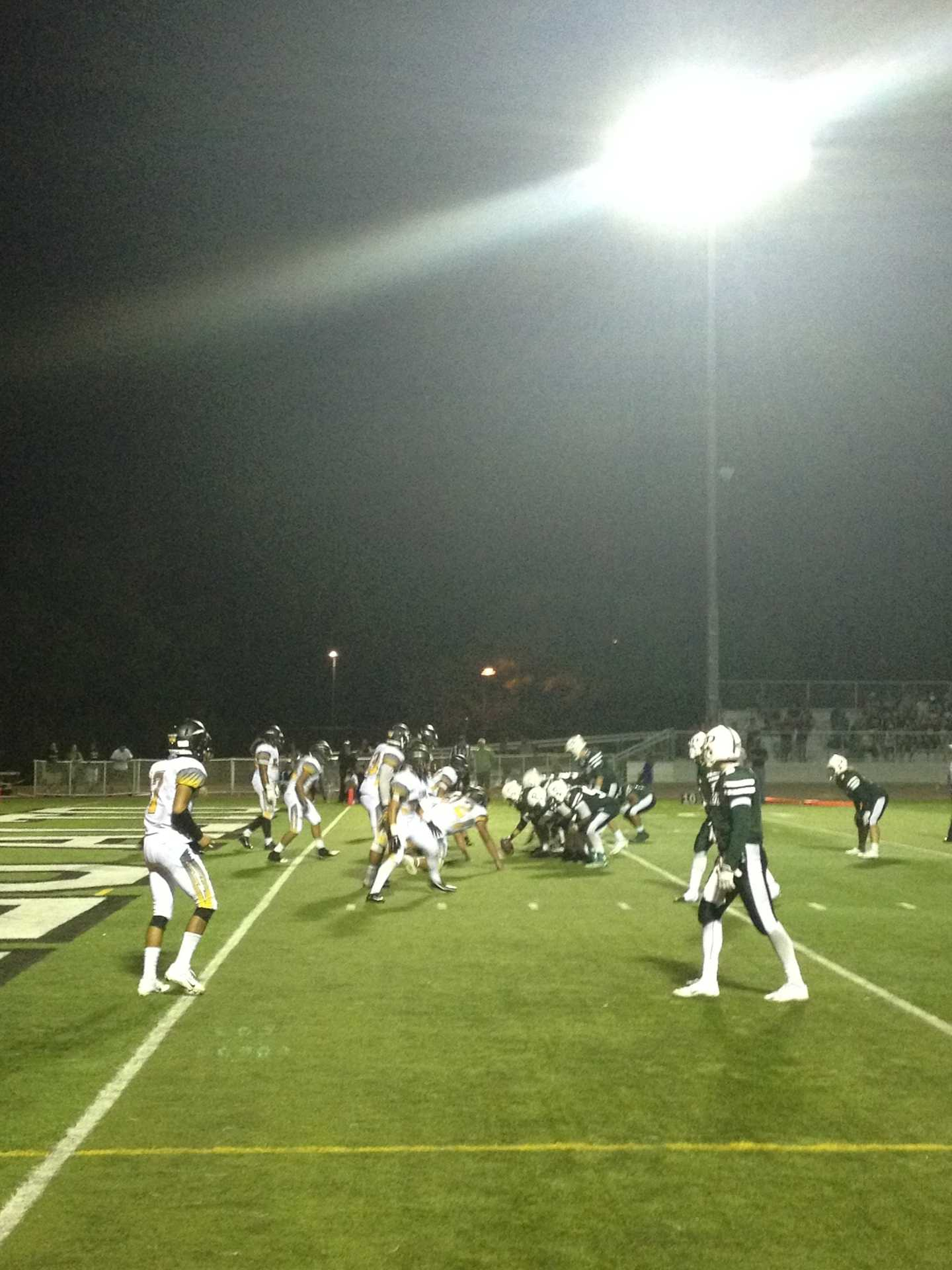 Paly lines up for a two-point conversion late in the fourth quarter. The Vikings failed to gain the two points and lost by one point against the Wilcox Chargers.
