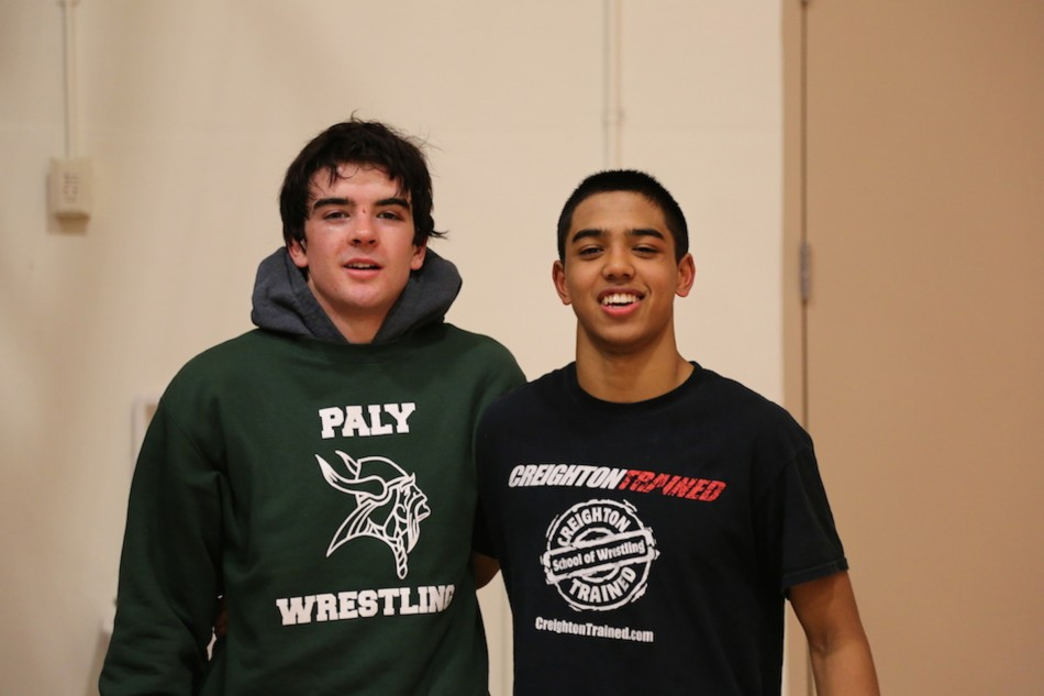 Paly+wrestlers+Seth+Goyal+%28%2717%29+and+James+Giaccia+%28%2715%29+pose+together+after+a+meet.