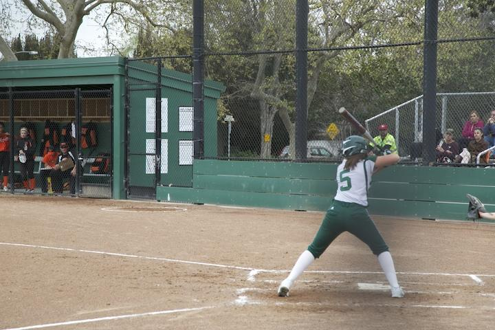 Casey Glassford ('15) prepares to hit the ball. Glassford had two strikeouts in the 1-12 loss to Woodside