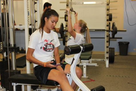 Courtney Lovely ('16) works out in the Paly weight room with the rest of the girls basketball team