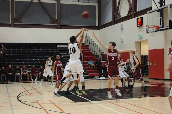 Paul Jackson III shoots in the game against Fremont. The Vikings went on to win 54-44.