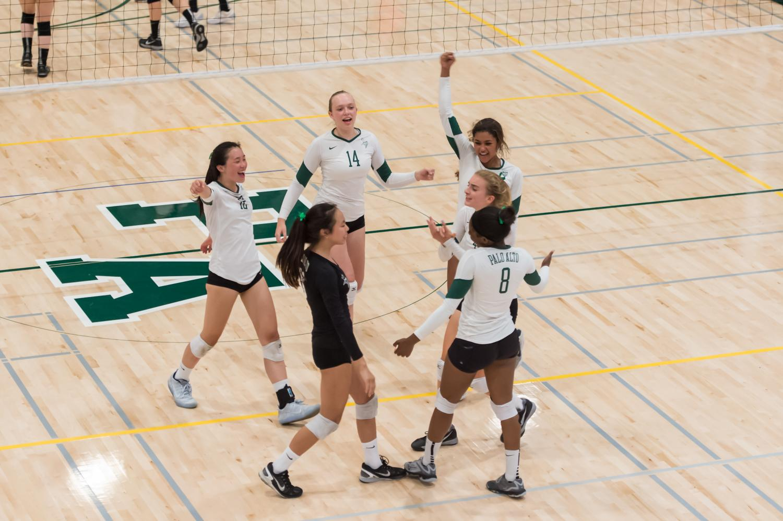 The team celebrates their win.