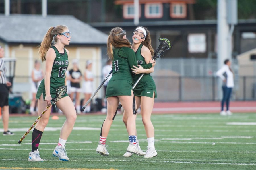 Abby Ramsey ('19) and Emily Wood ('19) celebrate a goal.