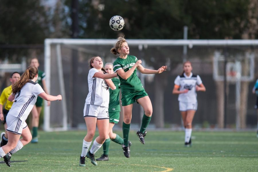 Katherine Thomsen(22') fights for possession of the ball in Paly's 6-2 loss to Los Gatos.