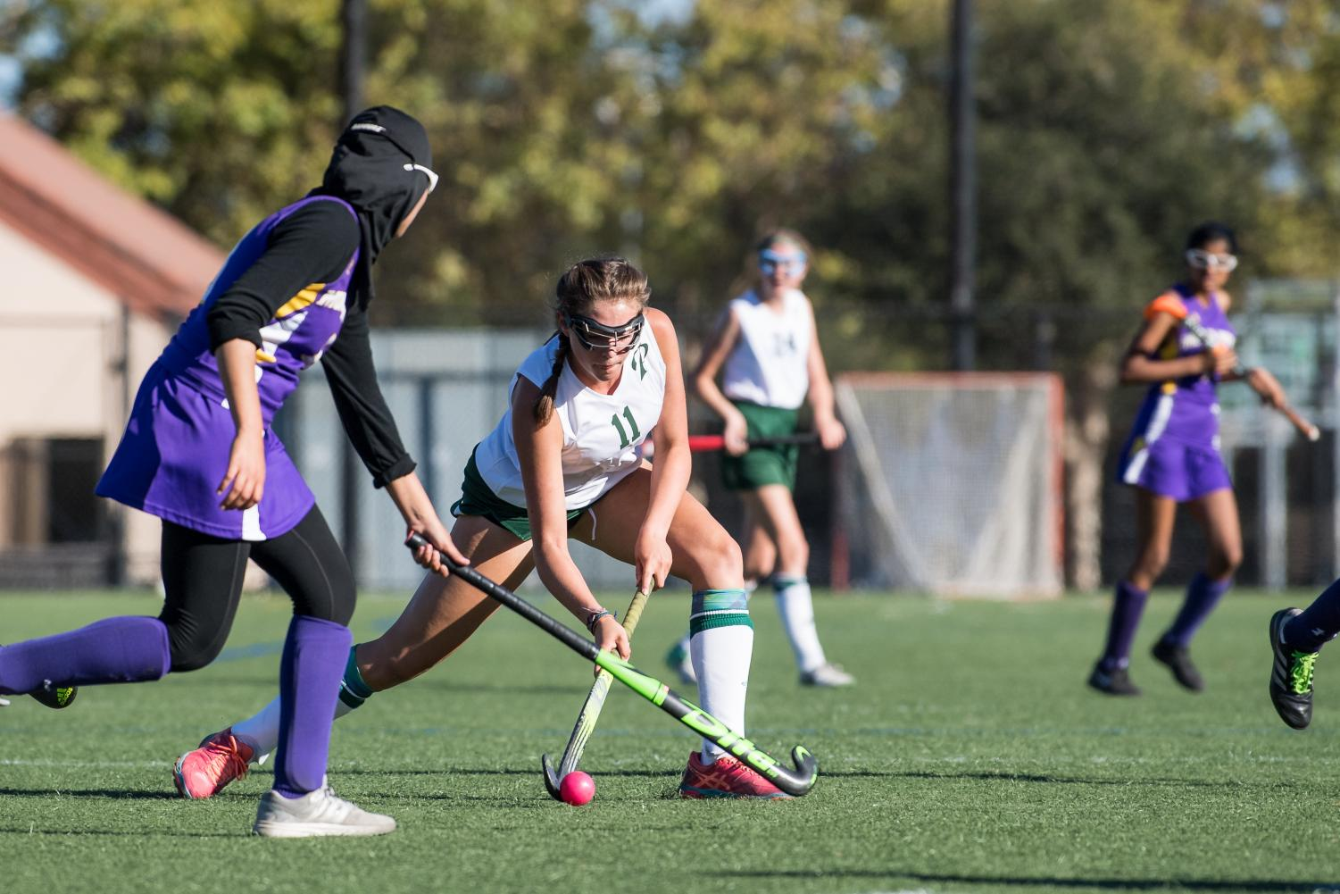 Alexa Gwyn ('21) drives to the goal, helping Paly beat Monta Vista in their first game 1-0