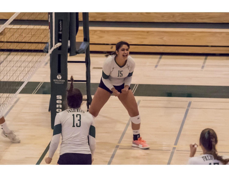 Trisha Razdan ('21) shares excitement with her teammates.