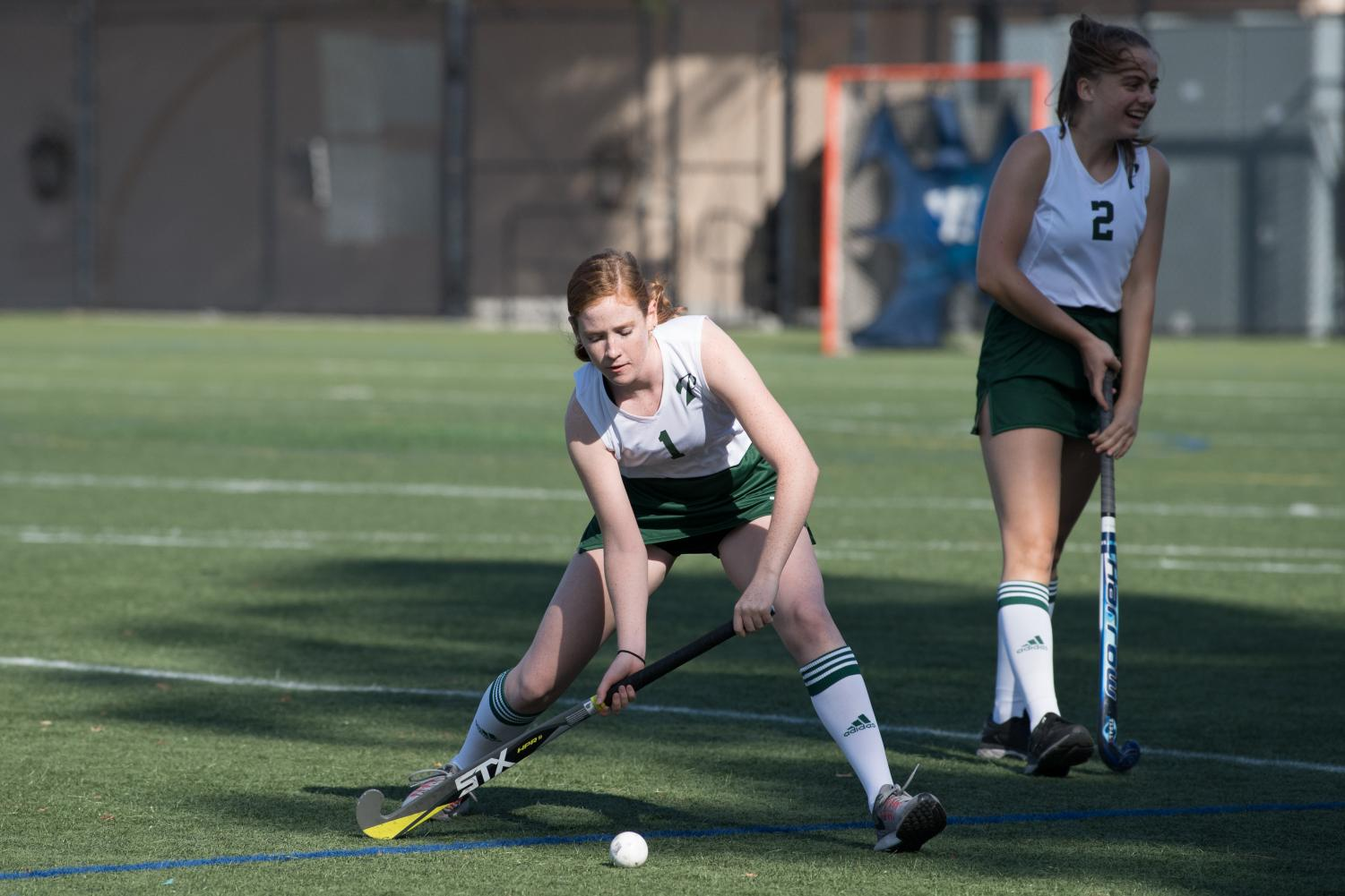 Georgia Cowie ('20) prepares herself for action, getting ready to send the ball into the goal.