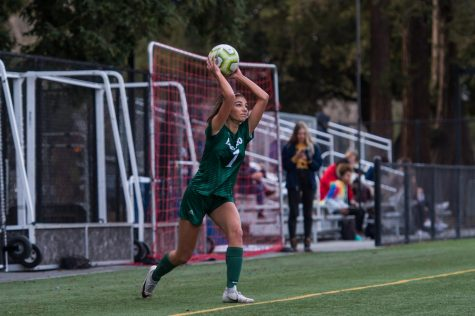 KICKING OFF — Leila Khan ('20) inbounds the ball vs Los Gatos.
